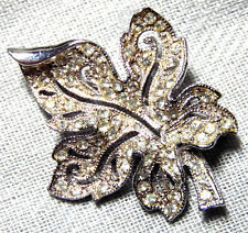 VINTAGE SILVER TONE CLEAR CRYSTAL LEAF PIN-BROOCH~ SIGNED: HEDY