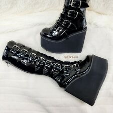"Demonia Swing 815 Black Patent Goth Punk Rave Knee Boot 5.5"" Platform Size 12 NY"