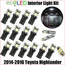 For 2014-2016 Toyota Highlander WHITE Interior LED Light Accessories Package Kit