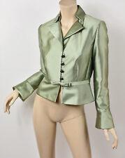 2d06d9681b1 KAY UNGER Shimmery Light Green Cotton   Silk Crystal Button Bow Waist Jacket  S 4