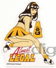 ALMOST LEGAL Cheerleader PINUP Schoolgirl Sticker/Decal