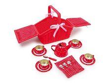 Brand NEW 18 pezzi in metallo picnic Tè Set Cesto per Bambini Gioco di ruolo