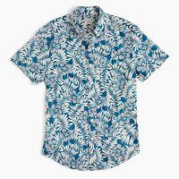 New J.Crew Stretch Cotton Fern Print Shirt Short Sleeve Hawaiian Secret Wash NWT