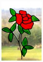 Slender Rose Stained Glass Effect Window Decor Cling