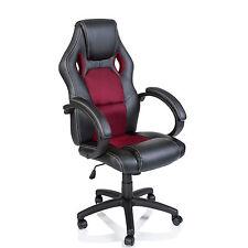 TRESKO® Sedia da ufficio girevole per casa Poltrona ufficio Racing Rosso Vino
