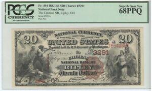 1882 BB $20 National #3291 Ripley, Ohio PCGS 68PPQ Superb Gem New