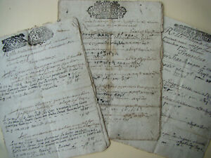 LOT 3 ANTIQUE DOCUMENTS 17th. & 18th.C. ROYAL TAX Date 1695 1710 & 1724 FRANCE