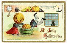 Jolly Halloween -WOMAN DUNKING JOL HUSBAND IN TUB-Embossed Hofmann Postcard
