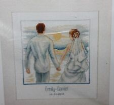 JUST MARRIED ON THE BEACH Wedding Record cross stitch kit VERVACO rare NIP