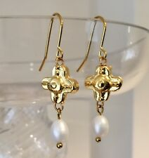 Freshwater Pearl & Gold Plated Cross Dangle Earrings