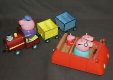 PEPPA PIG PUSH ALONG RED CAR & GRANDPA PIG'S TRAIN. VEHICLE PLAY SETS TOY BUNDLE
