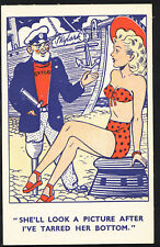 Comic Postcard - One Legged Sailor / Saucy / Swimsuit Lady / Ship S182