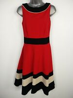 WOMENS COAST UK 8 RED BLACK SLEEVELESS FIT & FLARE SMART A-LINE OCCASION DRESS