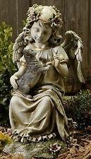 "16"" ANGEL CHERUB Sitting Holding Kitten Garden Decor Statue Joseph Studio 47443"