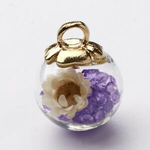 1 Pcs Random Dried Flower Rhinestone CCB Finding MediumPurple Glass Ball Charm