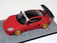 1/18 AB Models Porsche Cayman Rocket Bunny Matte Red on Alcantara Base B