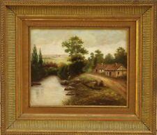 Tableau paysage 19ème sur carton fort école de Barbizon