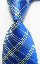 New Classic Checks Blue White Yellow JACQUARD WOVEN 100% Silk Men's Tie Necktie