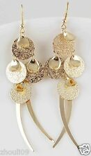 9k Yellow Gold Filled Elegant Crystal Rhinestone Ear Stud Dangle Earrings E486