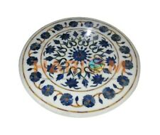 "24"" Marble Center Coffee Table Top Lapis Mosaic Floral Inlay Interior Decor W458"