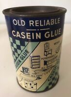 "Vintage OLD RELIABLE CASEIN GLUE 11 oz. Round 4.5"" Tall Tin Ad Can"