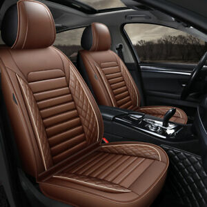 Universal PU Leather Full Set Car Set Covers Front Rear Car Seat Cushion Brown