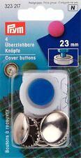Prym 4 X 23mm cubierta de latón color plata botones con herramienta