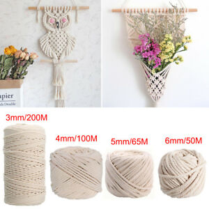 3/4/5/6mm Macrame Rope Natural Beige Cotton Twisted Cord Artisan Hand Craft AU