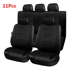 Full Set 5-Seat Car Seat Covers 11Pcs Front+Rear PU Leather Seat Cover Protector