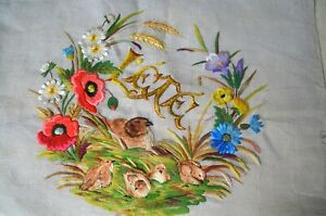 """Antique French silk embroidered tapestry of Summer """"ete"""", unfinished"""