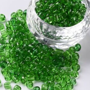 1 pound seed bead glass Transparent round 6/0 4mm  Green  SEED G  #><>