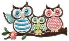 OWLS retro trio in pastels EMBROIDERED IRON-ON PATCH **FREE SHIPPING**  owl bird