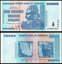 ZIMBABWE 100 TRILLION DOLLARS (P91r) 2008 ZA- REPLACEMENT UNC