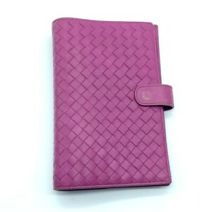 BOTTEGA VENETA 183622 Intrecciato Bifold Notebook Cover with Card Pockets Purple