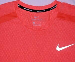 Mens EUC Orange NIKE RUNNING Dri Fit S/S Running Shirt size M