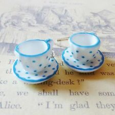 aLiCe In WoNdErLaNd WHITE BLUE SPOT POLKA DOT CHINA TEACUP SILVER DROP EARRINGS