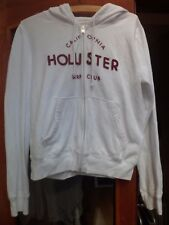 Ladies Hollister White Cotton Zip Front Hoodie Size Large