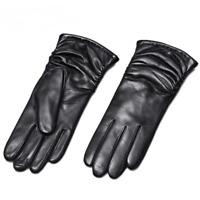 Winter Female's Genuine Leather Gloves Fashionable Sheepskin Soft Wrist Mittens