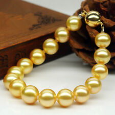 """10MM Beautiful Yellow Gold Akoya Cultured Shell Pearl Round Beaded Bracelet 7.5"""""""