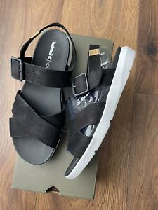 Timberland Wilesport Womens Black Leather Sandals Shoes Size UK 7 EUR 40