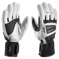 $150 Leki Womens Griffin Leather Trigger Ski Gloves Winter Ladies White Black XS