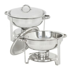 Round Chafing Dish Full Size Lot 2~5 Quart Stainless Steel Buffet Catering