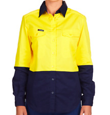 KingGee Women's Stretch Hi-Vis Long Sleeve Shirt K44770 - Yellow/Navy - Size 12