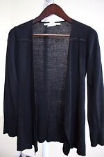 Max Studio Rayon & Nylon Blend Black Thin Open Sweater Size - Small