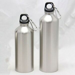Stainless Steel Sports WATER BOTTLE + Leak Proof Cap 500ml/750ml Capacity Silver