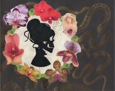 8x10 Original Collage Skeleton Woman Silhouette Snake Shed and Orchid Flowers