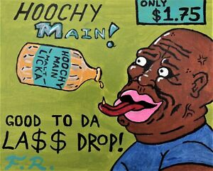 ORIGINAL Large BLACK FOLK ART PAINTING Outsider HOOCHY MAIN LIQUOR AD F.R Leech