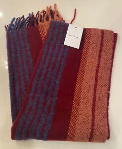 NEW Paul Smith Stripe Fringe Mens Wool Alpaca Scarf Red FREE Shipping $195 NWT