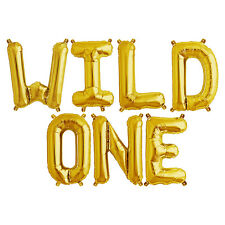 Party Supplies Gold 41cm Foil Letters Balloon 'WILD ONE' Birthday Baby First