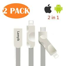 2-PACK 2-in-1 Reversible Lightning/Micro Power Cable for iOS & Android Devices